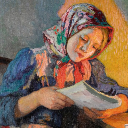 Nikolai Petrovich Bogdanov-Belsky, The Schoolgirl, (1868-1945), signed in in Cyrillic l.l., oil on canvas, 158 by 119cm, 62 1/2 by 46 3/4 in., Image source: Sotheby's. (detail)