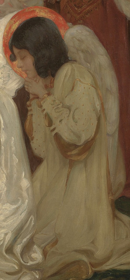 Isobel Lilian Gloag, R.O.I., N.W.S. (1865-1917), Four corners to my bed, signed and inscribed, oil on canvas, 54 ¼ x 54 ½ in. (137.8 x 138.5 cm.), Source: Christie's, (detail).