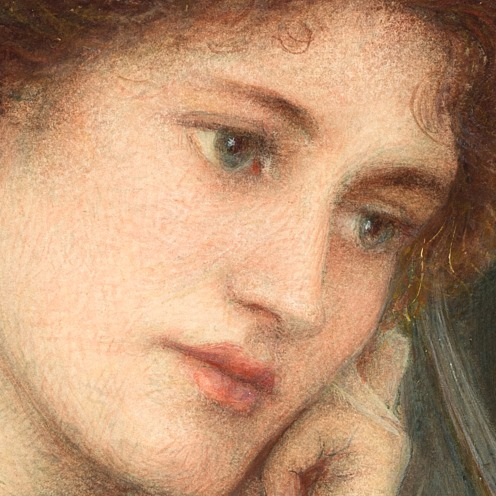 Marie Spartali Stillman (1844–1927), Beatrice, (1895), Medium: watercolor, gouache and tempera mounted on paper, Dimensions: Height: 22.6 in (57.6 cm); Width: 17 in (43.1 cm), Location: Delaware Art Museum, Image source: Wikimedia Commons (detail)