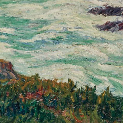 Henry Moret (1856-1913), Grosse mer (1913), signed and dated 'Henry. Moret 1913' (lower left), oil on canvas, 28 7/8 x 36 ¼ in. , Source: Christie's, (detail)