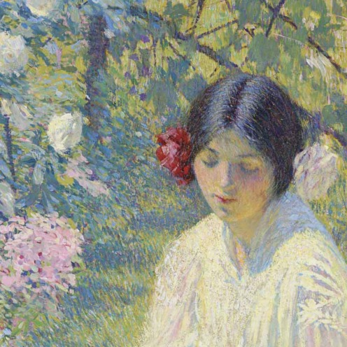 Philip Leslie Hale (1865-1931), The Rose Tree Girl, (c.1922), oil on canvas, 40 ¼ x 20 1/8 in. (102.2 x 51.1 cm.), Source: Christie's, (detail)