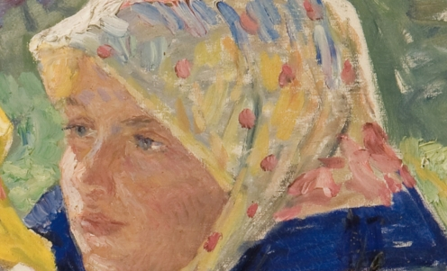Nikolai Bogdanov-Belsky, (1868-1945), LATGALIAN GIRLS, signed in Latin l.l., oil on canvas, 67.7 by 78cm, 26 1/2 by 30 3/4 in., Source: Sotheby's, (detail)