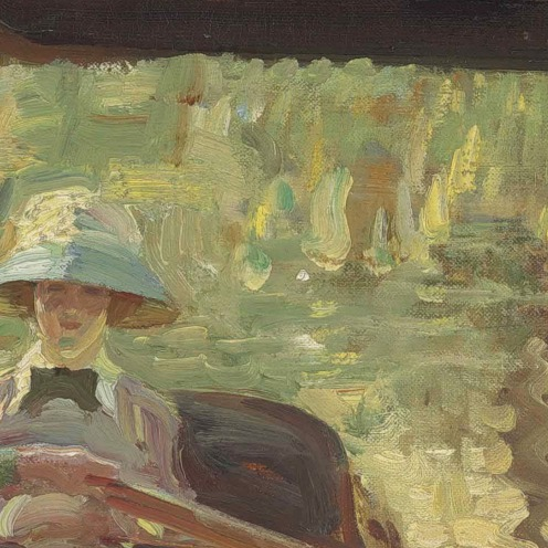 Sir Alfred James Munnings, P.R.A., R.W.S. (1878-1959), Idle Moments; or The Boathouse (1906), signed 'A. J. Munnings' (lower right), oil on canvas, 20 x 24 in. (50.8 x 60.9 cm), Source: Christie's (detail)