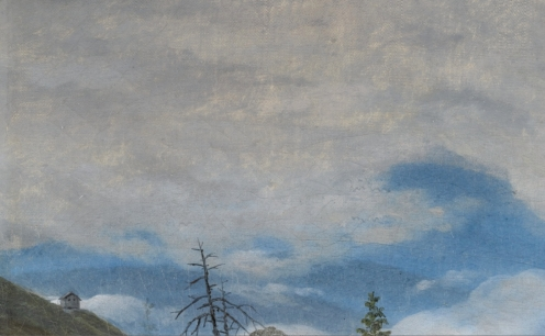 Caspar David Friedrich, (1774 - 1840), German, SONNENBLICK IM RIESENGEBIRGE (SUNBURST IN THE RIESENGEBIRGE), oil on canvas, 25.5 by 31.5cm., 10 by 12½in., Source: Sotheby's (detail)