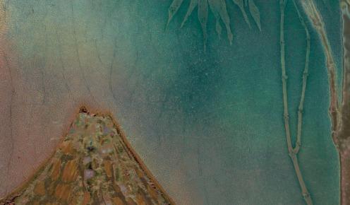 ENAMELLED CERAMIC PLATE REPRESENTING MONT FUJI, CIRCA 1900 CLEMENT MASSIER (1844-1917), Height: 42 cm. (16 ½ in.); Length: 30.5 cm. (11 ¾ in.) Origin: House of Art Nouveau Samuel Bing, Paris., Source: Christie's, (detail).