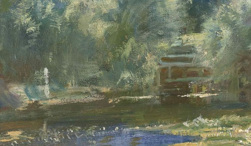 Sir Alfred James Munnings, P.R.A., R.W.S. (1878-1959), Langham Mill Pool, signed 'A.J. MUNNINGS' (lower right), oil on canvas, 24 x 24 in. (61 x 61 cm), Source: Christie's,(detail).