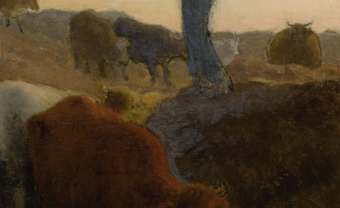 Jean-François Millet, (1814-1875), CALLING HOME THE CATTLE, stamped J.F.M (lower right), oil on panel, 15 by 11 in., 38.1 by 27.9 cm., Source: Sotheby's (detail)