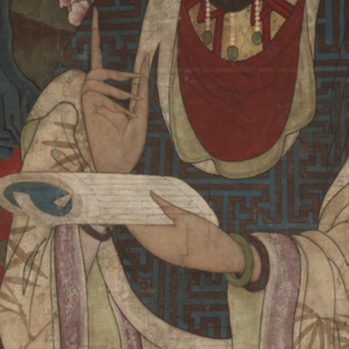 Guanyin Bodhisattva, undated, Anonymous, Chinese, Hanging scroll; ink and color on silk, Qing dynasty, 1644–1912, 189 x 88 cm. (74 7/16 x 34 5/8 in.), Gift of DuBois Schanck Morris, Class of 1893, Source: Princeton University Art Museum, Link: http://artmuseum.princeton.edu/collections/objects/22771. (detail)