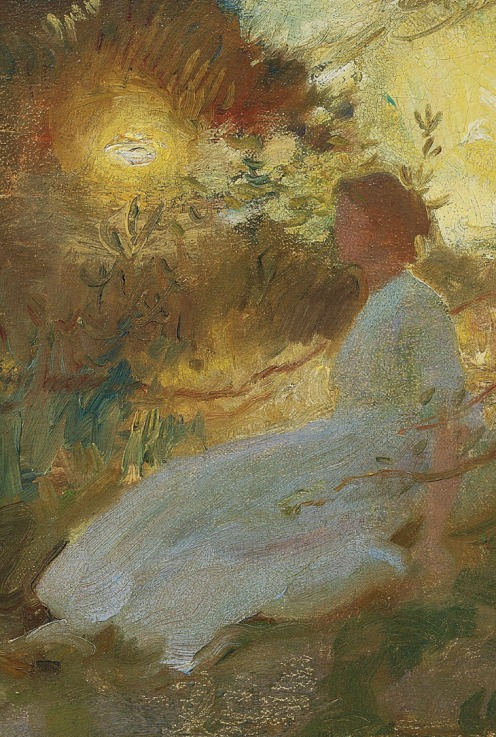 Sir Alfred James Munnings, P.R.A., R.W.S. (1878-1959), Portrait of Florence Munnings, at sunset (1912), signed and dated 'A.J. MUNNINGS 1912' (lower right), oil on canvas, 21 x 24 in. (53.4 x 61 cm.), Source: Christie's, (detail).