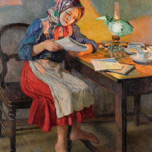 Nikolai Petrovich Bogdanov-Belsky, The Schoolgirl, (1868-1945), signed in in Cyrillic l.l., oil on canvas, 158 by 119cm, 62 1/2 by 46 3/4 in., Image source: Sotheby's.
