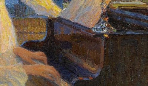 Nikolai Petrovich Bogdanov-Belsky, (1868-1945), Symphony, signed in Cyrillic l.r., oil on canvas, 160.5 by 141cm., 63 by 55 1/2 in., Image Source: Sotheby's (detail)