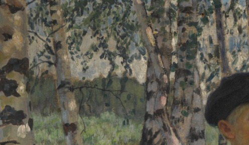 Nikolai Bogdanov-Belsky (1868-1945), Boys in a Birch Forest, signed in Cyrillic l.l. oil on canvas, 81.5 by 104.5cm, 32 by 41in., Image source: Sotheby's (detail)