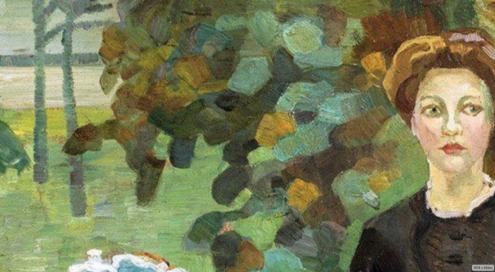 Leo Putz - In the Autumn Garden, Public Domain Via Irina https://www.flickr.com/photos/repolco/31485927298/in/dateposted/ , (detail)