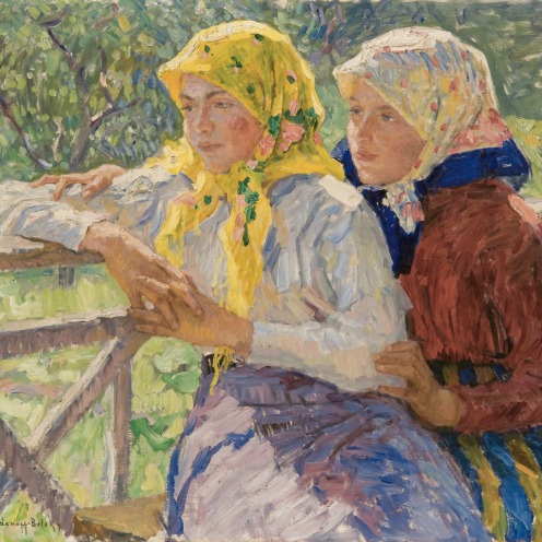 Nikolai Bogdanov-Belsky, (1868-1945), LATGALIAN GIRLS, signed in Latin l.l., oil on canvas, 67.7 by 78cm, 26 1/2 by 30 3/4 in., Source: Sotheby's