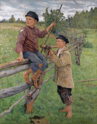 Nikolai Petrovich Bogdanov-Belsky, (1868-1945), Country Boys, signed in Cyrillic and dated 1916 l.l., oil on canvas, 153 by 124cm, 60 1/4 by 48 3/4 in., Source: Sotheby's.