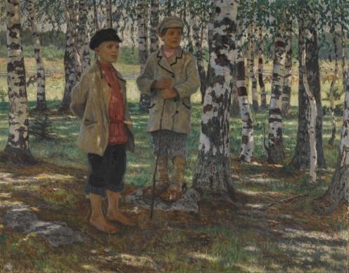 Nikolai Bogdanov-Belsky (1868-1945), Boys in a Birch Forest, signed in Cyrillic l.l. oil on canvas, 81.5 by 104.5cm, 32 by 41in., Image source: Sotheby's