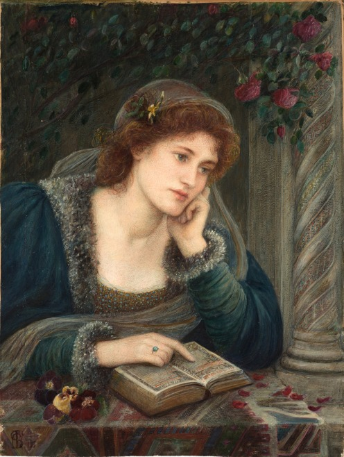 Marie Spartali Stillman (1844–1927), Beatrice, (1895), Medium: watercolor, gouache and tempera mounted on paper, Dimensions: Height: 22.6 in (57.6 cm); Width: 17 in (43.1 cm), Location: Delaware Art Museum, Image source: Wikimedia Commons