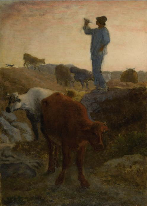 Jean-François Millet, (1814-1875), CALLING HOME THE CATTLE, stamped J.F.M (lower right), oil on panel, 15 by 11 in., 38.1 by 27.9 cm., Source: Sotheby's