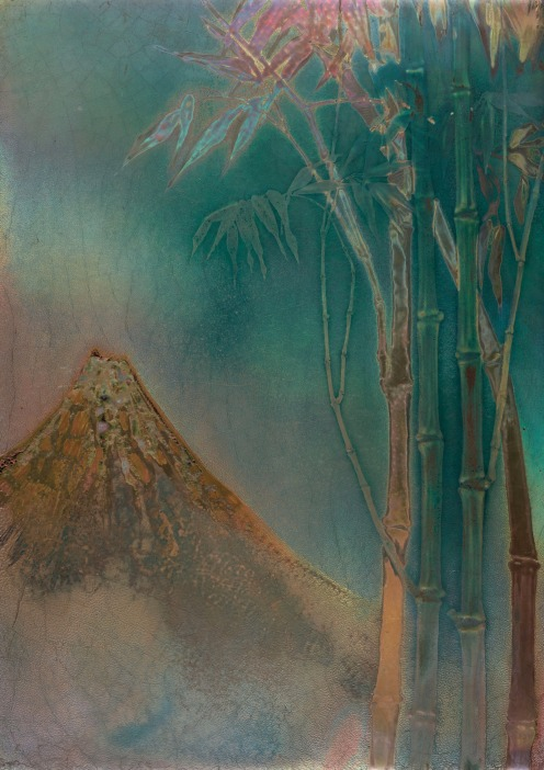 ENAMELLED CERAMIC PLATE REPRESENTING MONT FUJI, CIRCA 1900 CLEMENT MASSIER (1844-1917), Height: 42 cm. (16 ½ in.); Length: 30.5 cm. (11 ¾ in.) Origin: House of Art Nouveau Samuel Bing, Paris., Source: Christie's