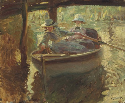 Sir Alfred James Munnings, P.R.A., R.W.S. (1878-1959), Idle Moments; or The Boathouse (1906), signed 'A. J. Munnings' (lower right), oil on canvas, 20 x 24 in. (50.8 x 60.9 cm), Source: Christie's