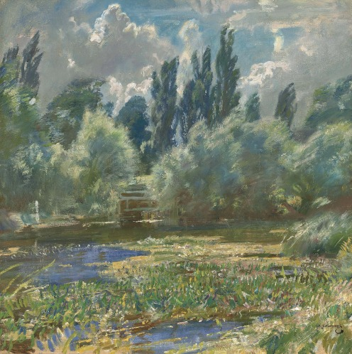 Sir Alfred James Munnings, P.R.A., R.W.S. (1878-1959), Langham Mill Pool, signed 'A.J. MUNNINGS' (lower right), oil on canvas, 24 x 24 in. (61 x 61 cm), Source: Christie's