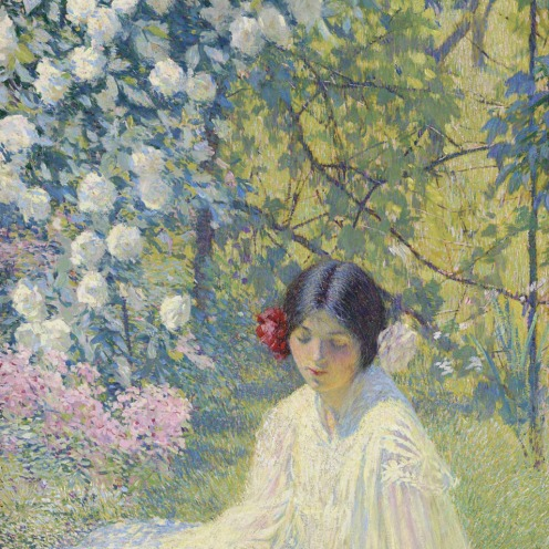 Philip Leslie Hale (1865-1931), The Rose Tree Girl, (c.1922), oil on canvas, 40 ¼ x 20 1/8 in. (102.2 x 51.1 cm.), Source: Christie's