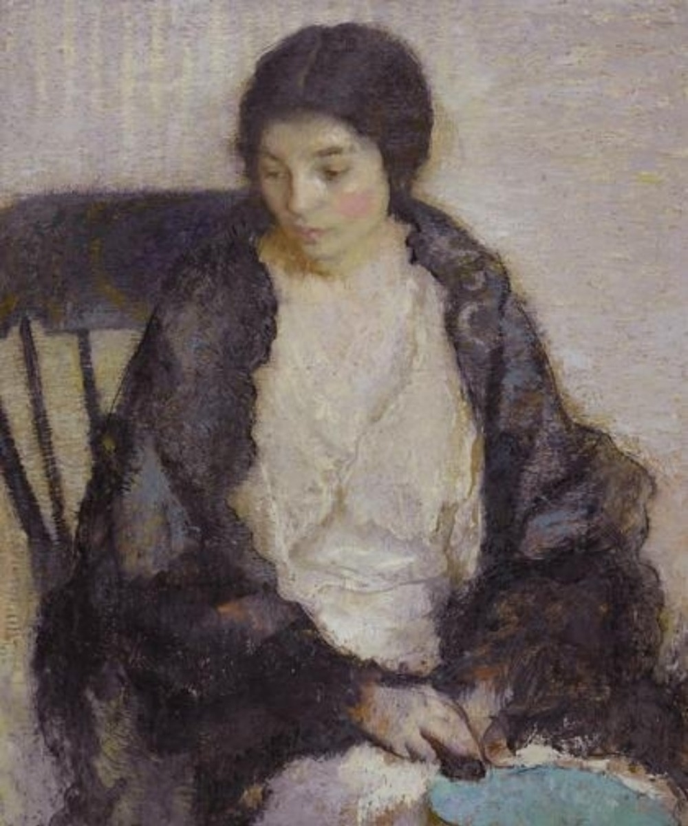 Screenshot_2018-11-21 Lilian Westcott Hale Lady with a blue fan (1916) MutualArt
