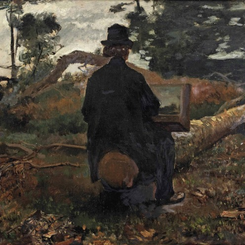 Jacob Maris (The Hague 1837-1899 Karlsbad), The painter Frederik Hendrik Kaemmerer at work in Oosterbeek, signed 'J Maris' (lower left), oil on paper laid down on panel, 30 x 42 cm., Painted circa 1861-1862, Source: Christie's