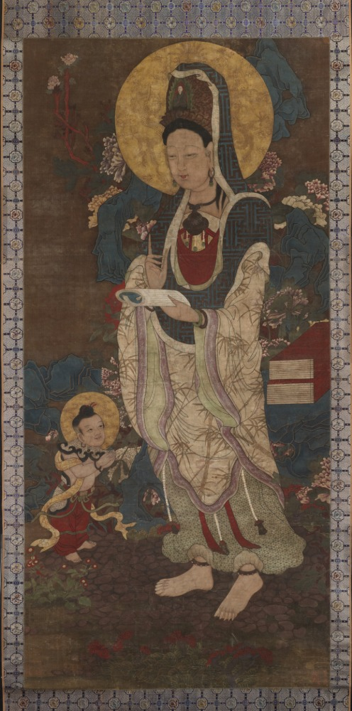 Guanyin Bodhisattva, undated, Anonymous, Chinese, Hanging scroll; ink and color on silk, Qing dynasty, 1644–1912, 189 x 88 cm. (74 7/16 x 34 5/8 in.), Gift of DuBois Schanck Morris, Class of 1893, Source: Princeton University Art Museum, Link: http://artmuseum.princeton.edu/collections/objects/22771.