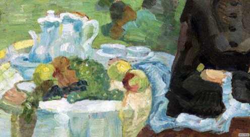 Leo Putz - In the Autumn Garden, Public Domain Via Irina https://www.flickr.com/photos/repolco/31485927298/in/dateposted/ , (detail)
