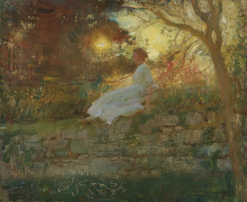 Sir Alfred James Munnings, P.R.A., R.W.S. (1878-1959), Portrait of Florence Munnings, at sunset (1912), signed and dated 'A.J. MUNNINGS 1912' (lower right), oil on canvas, 21 x 24 in. (53.4 x 61 cm.), Source: Christie's