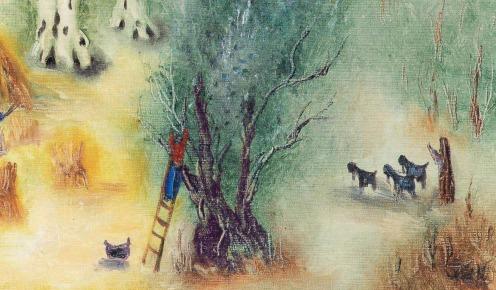 Reuven Rubin (1893-1974), Landscape near Jerusalem (1968), signed 'Rubin' and signed again in Hebrew (lower left), oil on canvas, 21 3/8 x 28 7/8 in. (54.2 x 73.4 cm.), Source: Christie's, (detail)