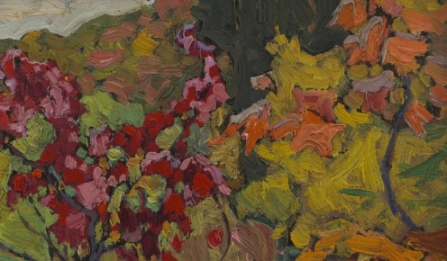 Maple Boughs, Algoma, J.E.H. MacDonald, oil on composite wood-pulp board, Credit Line: The Thomson Collection at the Art Gallery of Ontario, Dimensions: 21.5 x 26.5 cm (8 7/16 x 10 7/16 in.), Source: Art Gallery of Ontario, Canada, (detail)