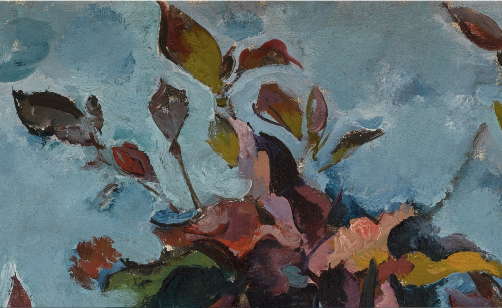 Alexander Vasilievich Kuprin (1880-1960), AUTUMN BOUQUET AGAINST BLUE BACKGROUND (KRYLATSKOE), 1923, bearing Vsekokhudozhnik and Soviet Academy of Arts exhibition labels on the stretcher, oil on canvas, 88.5cm by 75.5cm, 34 3/4 by 29 3/4 in., Source: Sotheby's, Link: http://www.sothebys.com/en/auctions/ecatalogue/2018/russian-pictures-l18115/lot.141.html , (detail).