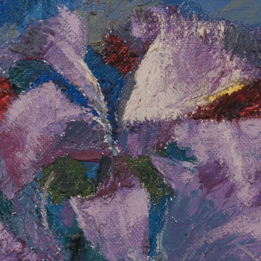 Augusto Giacometti (1877-1947), ORCHIDS ON BLUE GROUND, 1938, (ORCHIDEEN AUF BLAUEM GRUND) Monogrammed lower left; Signed, dated and titled on the reverse, Oil on canvas, Source: Sotheby's, Link: http://www.sothebys.com/en/auctions/ecatalogue/2016/schweizer-kunst-swiss-art-zh1603/lot.43.html?locale=en , (detail).