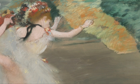 Edgar Degas (1834 - 1917), Danseuses en Blanc (c.1878), Signed Degas (upper right), Pastel and gouache on joined paper, 20 7/8 by 25 3/8 in., 53 by 65.2 cm, Source: Sotheby's, (detail).