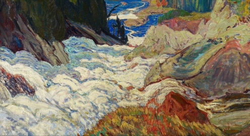 J.E.H. MacDonald, Falls, Montreal River, 1920, oil on canvas, w153 x h121.9 cm (overall), Rights: © 2013 Art Gallery of Ontario. Purchase, 1933, https://ago.ca/collection/object/2109 (detail).