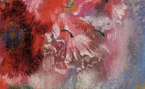 Augusto Giacometti (1877 - 1947), MOHN AUF GRAUEM GRUND,1932, Signed with the artist's initials lower right; Oil on canvas, 36 x 44 cm, Source: Sotheby's, Link: http://www.sothebys.com/en/auctions/ecatalogue/2018/schweizer-kunst-swiss-art-zh1806/lot.54.html , (detail).