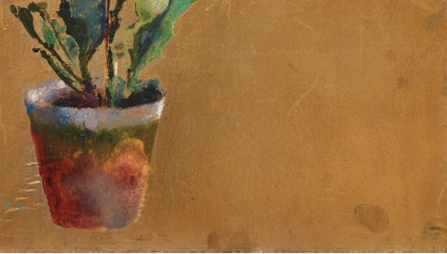 Augusto Giacometti, (1877-1947), FLOWER POT WITH CATTLEYA, 1923, Monogrammed lower left; inscribed on the reverse signed and dated, Oil on gold foil, 54.5 x 34.5 cm, Source: Sotheby's, Link: http://www.sothebys.com/en/auctions/ecatalogue/2014/schweizer-kunst-swiss-art-zh1506/lot.60.html?locale=en (detail).