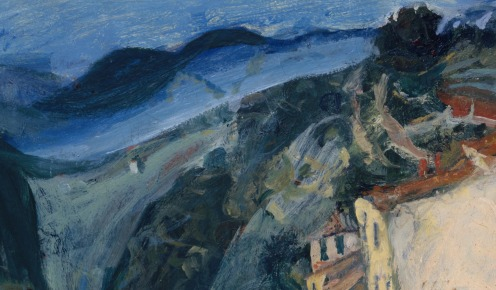 View of Cagnes (ca. 1924–25) by Chaim Soutine (French (born Lithuania), Smilovitchi 1893–1943 Paris), Oil on canvas, 23 3/4 × 28 7/8 in. (60.3 × 73.3 cm), Credit Line: The Mr. and Mrs. Klaus G. Perls Collection, 1997, The Met., Image Source: Wikimedia, (detail).
