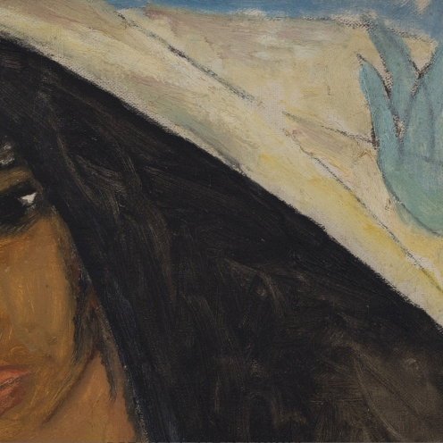 Reuven Rubin, (1893 - 1974), ARAB WOMAN WITH A POTTED PLANT (1923), signed Rubin (lower center), oil on canvas, 23 5/8 by 19 3/4 in., 60 by 50 cm, Source: Sotheby's, detail.