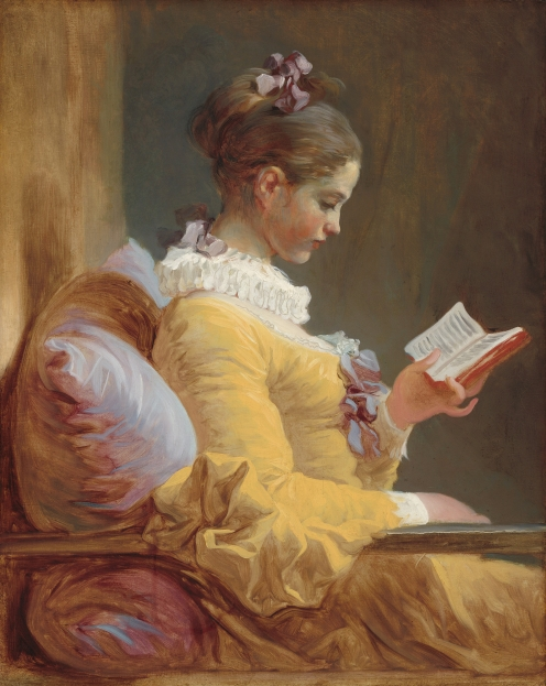 Jean-Honoré Fragonard, French, 1732 - 1806, Young Girl Reading, c. 1770, oil on canvas, Gift of Mrs. Mellon Bruce in memory of her father, Andrew W. Mellon, 1961.16.1 National Gallery of Art, Image Source: Google Arts and Culture