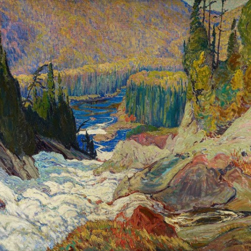 J.E.H. MacDonald, Falls, Montreal River, 1920, oil on canvas, w153 x h121.9 cm (overall), Rights: © 2013 Art Gallery of Ontario. Purchase, 1933, https://ago.ca/collection/object/2109