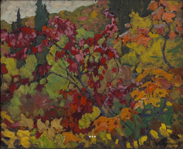 Maple Boughs, Algoma, J.E.H. MacDonald, oil on composite wood-pulp board, Credit Line: The Thomson Collection at the Art Gallery of Ontario, Dimensions: 21.5 x 26.5 cm (8 7/16 x 10 7/16 in.), Source: Art Gallery of Ontario, Canada
