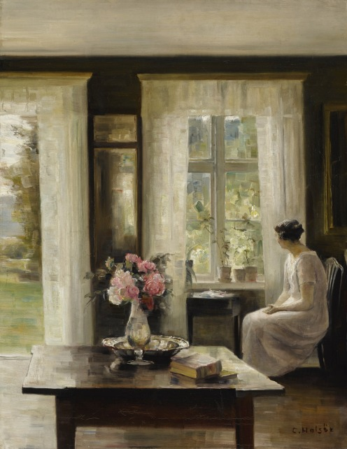 Carl Holsøe, (1863 - 1935), DANISH, INTERIOR, LIGHT OF SPRING, signed C. Holsöe (lower right), oil on canvas, 26 1/8 by 20 5/8 in., 66.4 by 52.4 cm, Source: Sotheby's .