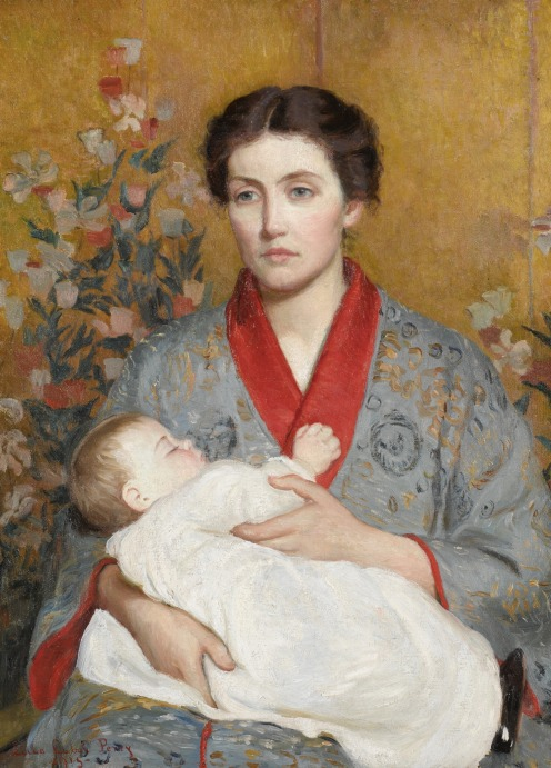 Lilla Cabot Perry, (1848 - 1933), THE BLUE KIMONO, signed Lilla Cabot Perry and dated -1915- (lower left), oil on canvas, 34 by 25 1/2 inches, (86.4 by 64.8 cm), Source: Sotheby's Link: http://www.sothebys.com/en/auctions/ecatalogue/2017/american-art-n09635/lot.65.html