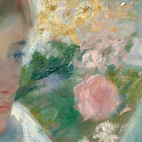 "On a Balcony, 1878/79, Mary Cassatt, American (1844–1926), Oil on canvas, Signed lower left: ""Mary Cassatt"", 89.9 × 65.2 cm (35 1/2 × 25 5/8 in.), Credit Line: Gift of Mrs. Albert J. Beveridge in memory of her aunt, Delia Spencer Field, Source: (Art Institute of Chicago), detail"