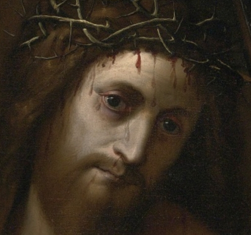 Jacopo Ligozzi (1547–1627) Verona, Florence, Christ Carrying the Cross,1604, oil on canvas,135.5 by 102.2 cm. signed lower left with the artist's device of I-L surmounted by a cross, Image Source: https://commons.wikimedia (detail)