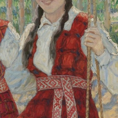 Nikolai Petrovich Bogdanov-Belsky (1868-1945), RUSSIAN, TWO GIRLS ON A SWING, 1940, signed N. Bogdanoff-Belsky (lower right), oil on canvas mounted on board, 33 3/4 by 27 1/2 in. or 85.5 by 70 cm., Source: Sotheby's (detail)