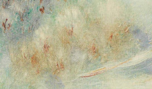Reuven Rubin (1893-1974), Landscape near Jerusalem (1968), signed 'Rubin' and signed again in Hebrew (lower left), oil on canvas, 21 3/8 x 28 7/8 in. (54.2 x 73.4 cm.), Source: Christie's, (detail)